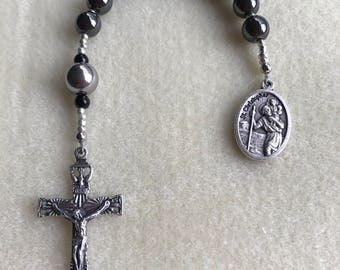 """St Christopher Hematite and Stainless Steel Tenner """"For Him"""", Pocket Rosary. Patron Saint of Travelers. Italian Holy Spirit Crucifix & Medal"""