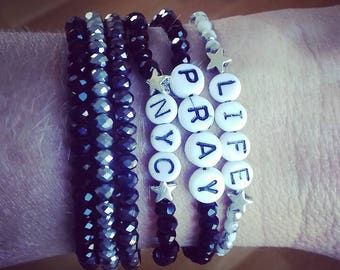 Bracelets with words, quotations, names, messages