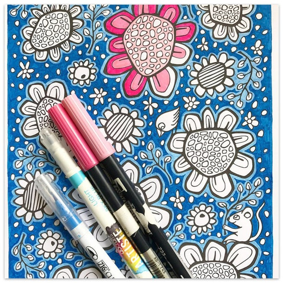 Printable Pop Flowers Colouring Page