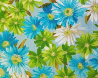 Vintage Blue, Green, and White Flowers Fabric