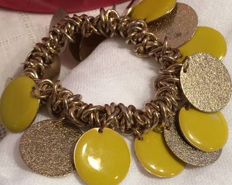 Textured Goldtone and YellOw Enamel Disc Strechy Bracelet
