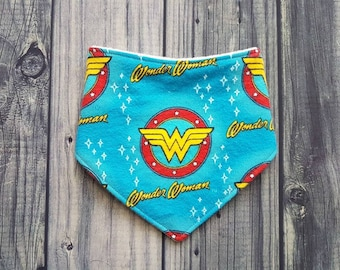 Baby Bandana Drool Bib - Flannel Wonder Woman
