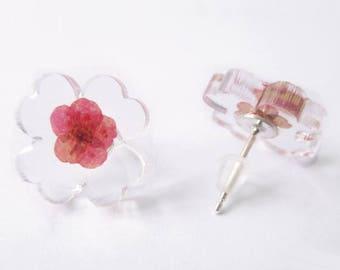 Flower Earrings pink 925 sterling silver and resin