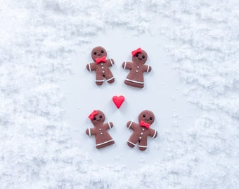 Christmas Gingerbread Man Stud Earrings - Handmade Polymer Clay