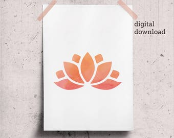 Orange lotus zen instant download yoga prints - minimalist orange calming wall art - watercolor minimal office wall decor printable
