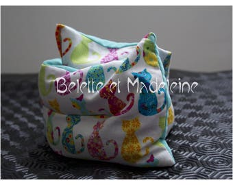 Hot/cold neck pillow heating organic flax seeds, cats multicolors and velvet - new COLLECTION fabrics