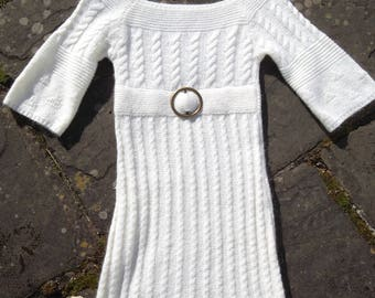 Vintage 50s 60s Style Aran Twist Textured Crochet Knitted  Mod Dress Off White / Cream S