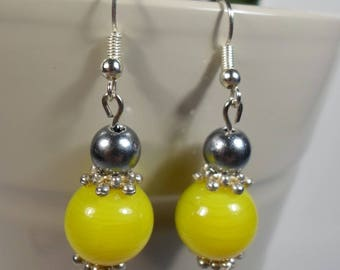 Green and gray earrings