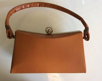 1960's Vintage Handbag - Caramel Color Faux Leather Purse
