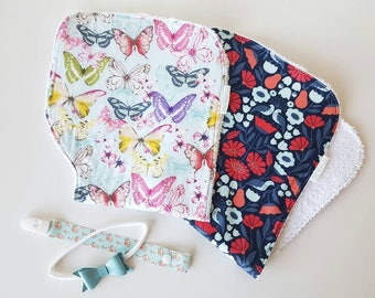 Contoured Baby Burp Cloths in Either Butterfly Print or Bird Print