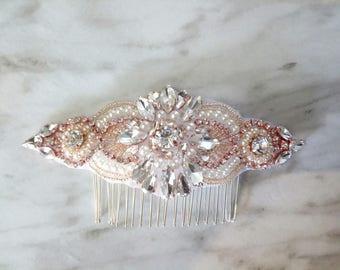 Unique rose Gold Hair comb pearl