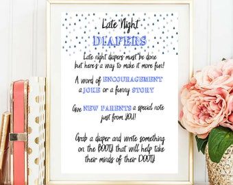 Baby Shower Game - LATE NIGHT DIAPERS - Instant Printable Digital Download - Baby Shower Blue - Baby Shower Boy- Baby Shower Printable Game