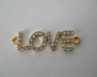 "Pearl Gold connector for shamballa ""LOVE"""