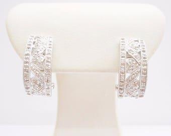 Diamond Earrings, Diamond Hoops, Half Hoops, J Hoops, Hoop Earrings, 10k White Gold .05 CTW Diamond Accent Omega Back Heart Earrings #3433