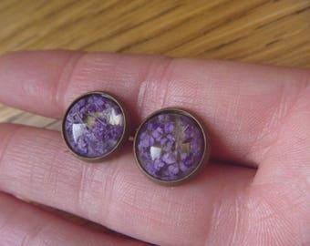 vintage earrings nature: real dried flowers