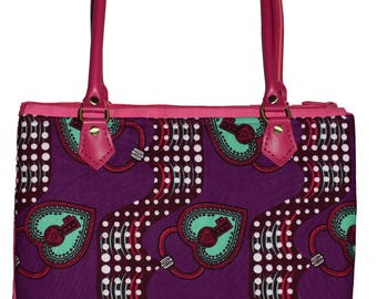 African print handbag - leather handles - zip top closure - Gift for her - Unique gifts - Valentine's Day - Handmade by Dovetailed London