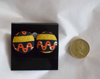 African print button earrings - Handmade - Gold orange black - sterling silver butterfly posts/backs - Dovetailed London - Valentine's Gift