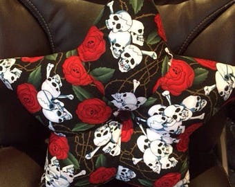 Star Shaped cushion red roses and skulls, goth roses & skulls cushion, 1 only made