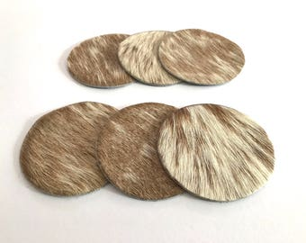 Coaster in cow light brown/white 6 pieces