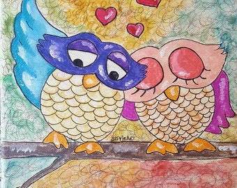Framework to furnish your home with the owls in love ... ideal for the kitchen or the bedroom