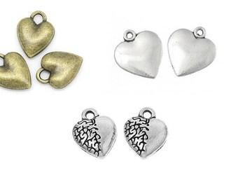 Heart, heart, heart pendant, vintage style, charm