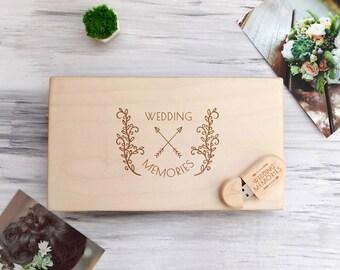 Wooden Photo USB Box Wood Photo Box Personalized Photo Box Custom Wedding Box with USB Wood Keepsake Box Wedding Gift Ideas Gift for Couple