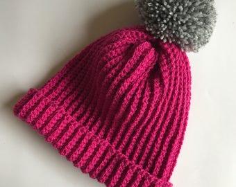 Crochet hat, crochet bobble hat, crochet beanie, crochet pom pom hat