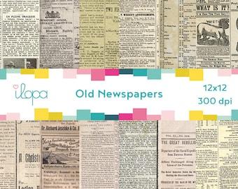 Digital Old Vintage Newspaper 300 dpi 12x12