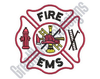 Maltese Cross Fire EMS - Machine Embroidery Design