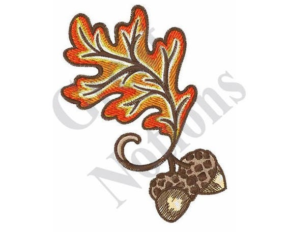 Oak leaf and acorns machine embroidery design from