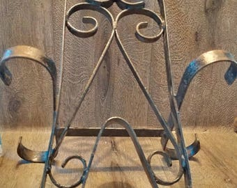 Antique English Wrough Iron Boot Puller // robust and substantial Boot and Wellington Pull // old wrought iron recipe book holder