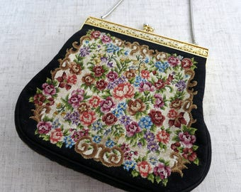 Vintage Tapestry Evening Bag, Vintage Tapestry Handbag, Vintage Tapestry Evening Purse, Vintage Floral Evening Bag - V277