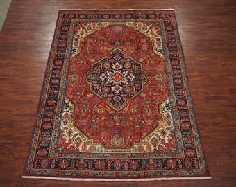 8X11 Fine Persian Tabriz Hand-Knotted 1960's Oriental Area Rug Wool Carpet (7.11 x 11.4)