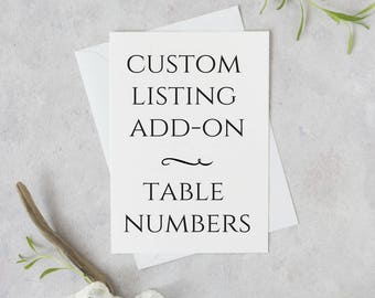 Custom Table Number Listing Add-On,