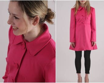 Hot Pink, Vintage, Cashmere + Wool Winter Coat with Bound Buttonholes