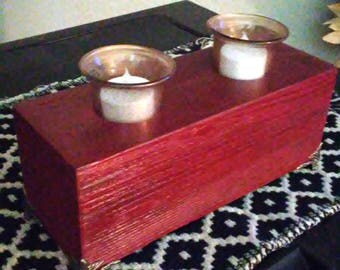 Wood Candle Holder Stained Cedar with Antique Brass Feet and Stained Glass