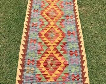 Article # 5379 VEGETABLE DYED Hand Made Chobi Kilim Runner Rug Double Face Design 195 x 79 cm - 6.4 x 2.6 Feet
