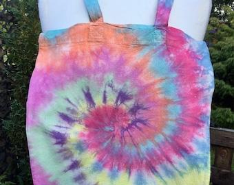 Rainbow spiral tie dye canvas tote bag