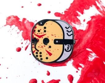 Friday the 13th pin | Jason Voorhees mask enamel pin | horror pins