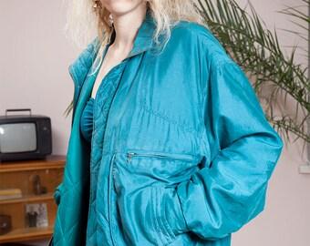 Vintage bomber jacket•Vintage clothing•90s jacket•Teal jacket•Silky jacket•Hipster Clothing•Retro Bomber Jacket•Vintage sportswear