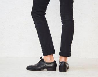 Vintage Black SALAMANDER Leather Oxfords Wingtip Shoes