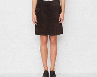 Vintage Brown Suede Mini Skirt/ Tommy Hilfiger/ Size 8