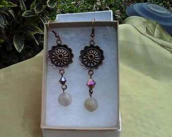 Bronze and stone pierced earrings