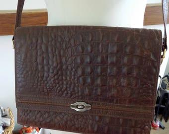 Aspis, made in Cyprus, vintage brown textured leather shoulder bag