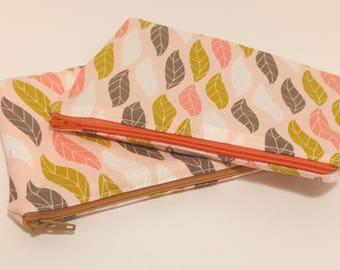 Medium Zipper Pouch with Leaf Motif; cosmetic bag; zipper clutch; makeup bag; gadget case; gift for her; girls pouch; pencil case