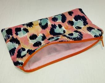 Pink on Orange Leopard Spots Novelty Zipper Pouch - makeup bag; pencil case; gift for her; cosmetic bag; carry all; gadget case; birthday