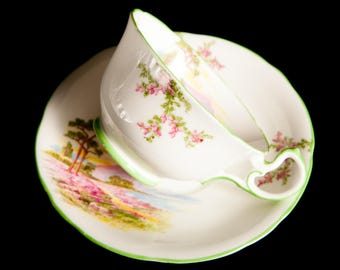 Country Scene Aynsley Bone China Teacup and Saucer