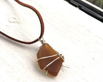 Genuine Brown Sea Glass Silver Wire Pendant