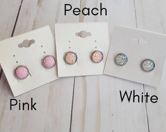 Druzy earrings, faux druzy earrings, pink earrings, hypoallergenic earrings, gift under 10