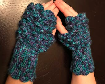 Blue and Purple Dragon Scale Fingerless Gloves